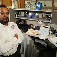Marcus Gary, Tupelo City Outreach Coordinator at his office space at the Tupelo Parks and Recreation Office.