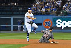 May 9, 2018 - Los Angeles, CA, U.S. - LOS ANGELES, CA - MAY 09: Arizona Diamondbacks right fielder Steven Souza Jr. (28) slides into Los Angeles Dodgers second baseman Austin Barnes (15) as he turns the double play during a MLB game between the Arizona Diamondbacks and the Los Angeles Dodgers on May 9, 2018 at Dodger Stadium in Los Angeles, CA. (Photo by Brian Rothmuller/Icon Sportswire) (Credit Image: © Brian Rothmuller/Icon SMI via ZUMA Press)