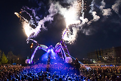 © Licensed to London News Pictures. 05/05/2018. London, UK.  Artists perform during the Arcadia 10th Anniversary Metamorphosis festival show at the Queen Elizabeth Park. The 50 tonne Arcadia Spider is built from repurposed military hardware and is one of the world's most iconic festival stages, having started at Glastonbury Festival. Photo credit: Vickie Flores/LNP