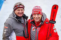 17.02.2019, Aare, SWE, FIS Weltmeisterschaften Ski Alpin, Slalom, Herren, 2. Lauf, im Bild Hans Pum (ÖSV Sportdirektor), Prof. Peter Schröcksnadel (ÖSV Präsident) // Hans Pum Austrian Ski Association sporting director, Peter Schroecksnadel Austrian Ski Association President reacts after his 2nd run of men's Slalom of FIS Ski World Championships 2019. Aare, Sweden on 2019/02/17. EXPA Pictures © 2019, PhotoCredit: EXPA/ Johann Groder