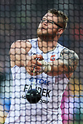 Great Britain, London - 2017 August 09: Pawel Fajdek (Agros Zamosc) of Poland competes in men&rsquo;s hammer throw qualification during IAAF World Championships London 2017 Day 6 at London Stadium on August 09, 2017 in London, Great Britain.<br /> <br /> Mandatory credit:<br /> Photo by &copy; Adam Nurkiewicz<br /> <br /> Adam Nurkiewicz declares that he has no rights to the image of people at the photographs of his authorship.<br /> <br /> Picture also available in RAW (NEF) or TIFF format on special request.<br /> <br /> Any editorial, commercial or promotional use requires written permission from the author of image.