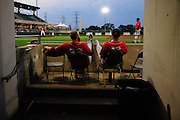 Lake Erie players watch the game against the ThuderBolts. Friday, August 14rd, 2015, in Crestwood. (Gary Middendorf-Daily Southtown)