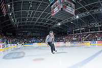 KELOWNA, CANADA - OCTOBER 24: Ward Pateman, linesman skates as the Calgary Hitmen enter the ice against the Kelowna Rockets on October 24, 2015 at Prospera Place in Kelowna, British Columbia, Canada.  (Photo by Marissa Baecker/Shoot the Breeze)  *** Local Caption *** Ward Pateman; linesman;