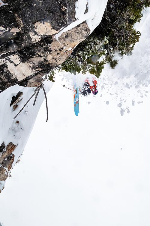 Jim Ryan drops an inbound cliff at JHMR.