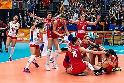 20-10-2018 JPN: Final World Championship Volleyball Women day 21, Yokohama<br /> Serbia - Italy 3-2 / Serbia World Champion, Tijana Boskovic #18 of Serbia, Brankica Mihajlovic #9 of Serbia, Bianka Busa #1 of Serbia, Stefana Veljkovic #11 of Serbia, Maja OgnjenovicC #10 of Serbia, Jovana Stevanovic #15 of Serbia, Teodora Pusic #12 of Serbia