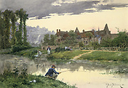 Soldiers by a River', watercolour. Etienne Berne Bellecour (1838-1910) French painter. In foreground one soldier is fishing while on the far bank another is doing his washing.