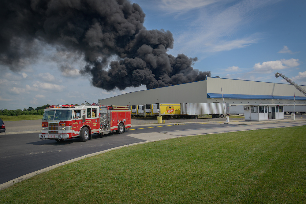 DELANCO FIRE: Firefighters from 24 companies began battled this 11-Alarm fire at the Dietz and Watson warehouse in Delanco Township, NJ on Sunday, September 1, 2013. A loss of water pressure and an extensive array of solar panels complicated the response that, as of Monday, September 2, 2013, was 50% contained.