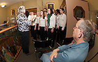 Laconia High School Concert Choir led by Debbie Gibson presents a Holiday concert at Laconia Public Library Monday evening hosted by presented by the Laconia Historical and Museum Society.  Front row (l-r)  Jasmyn Murgatroy, Sabrina DeSaulniers, Destiny DeMond, Bryson Haddock, Tori Thibodeau and Carly DeNauw.  Back Row (l-r) Sarah DeLaCerda, Bonita Olivares, Mitchell Bailey, Michael Tarling, Danique Montique and Zina LaBrie.  (Karen Bobotas/for the Laconia Daily Sun)