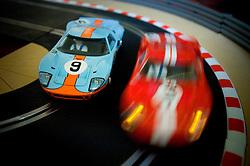 Scalextric slot car racing.