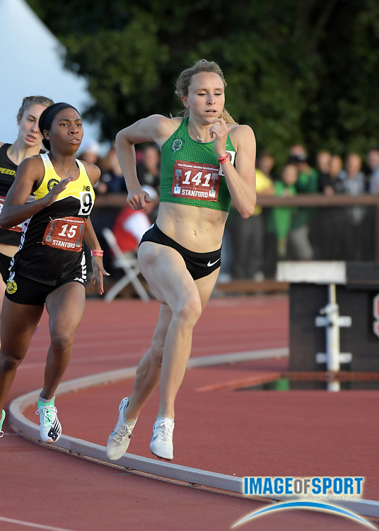 May 2, 2019; Stanford, CA, USA; Hanna Green (141) of NIKE OTC Elite wins the women's 800m in 2:01.61 during the 24th Payton Jordan Invitational at Cobb Track & Angell Field.