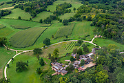 """Aerial view of Frank Lloyd Wright's home and studio """"Taliesin"""" near Spring Green, Wisconsin, USA."""