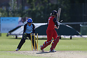 Lancashire Thunders Georgie Boyce not out as a no ball during the Vitality T20 Blast North Group match between Lancashire Thunder and Yorkshire Vikings at Liverpool Cricket Club, Liverpool, United Kingdom on 13 August 2019.