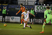 Burton Albion defender Ben Turner  (6) fouls Luton Town forward Harry Cornick (14)  during the EFL Sky Bet League 1 match between Luton Town and Burton Albion at Kenilworth Road, Luton, England on 22 December 2018.