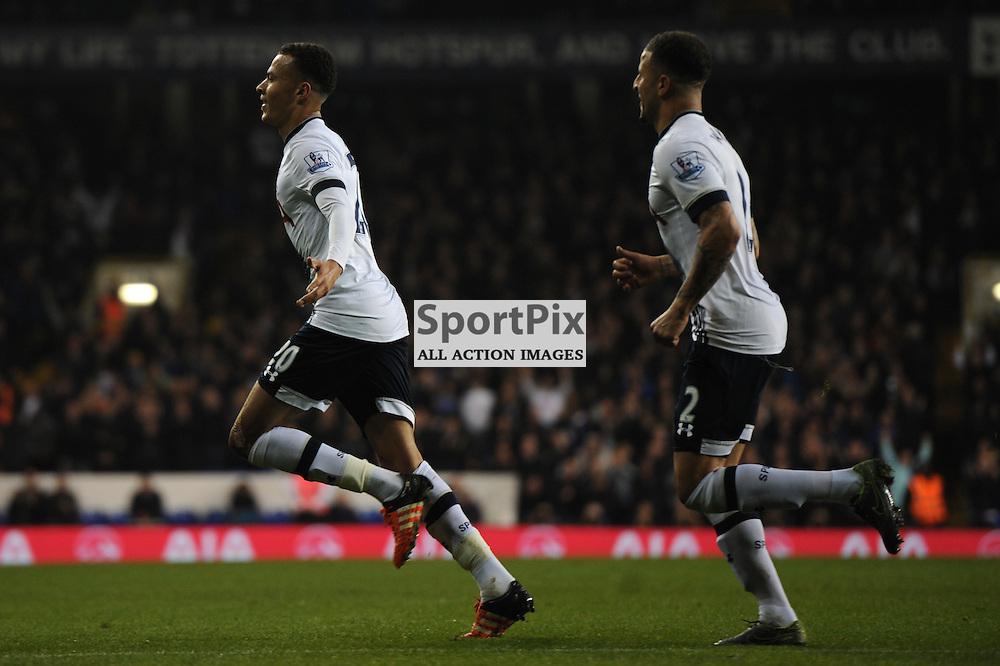 Tottenhams Dele Alli celebrates scoring Tottenhams second goal during the Tottenham v Aston Villa match in the Barclays Premier League on the 2nd November 2015