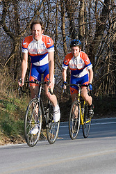 Virginia Cavaliers Adam Winck and Virginia Cavaliers David Morris..Members of the University of Virginia Cycling Team met at Reeds Gap on the Blue Ridge Parkway in Virginia on April 9, 2007 for a team photo shoot.