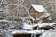 67395-04303 Glade Creek Grist Mill in winter, Babcock State Park, WV