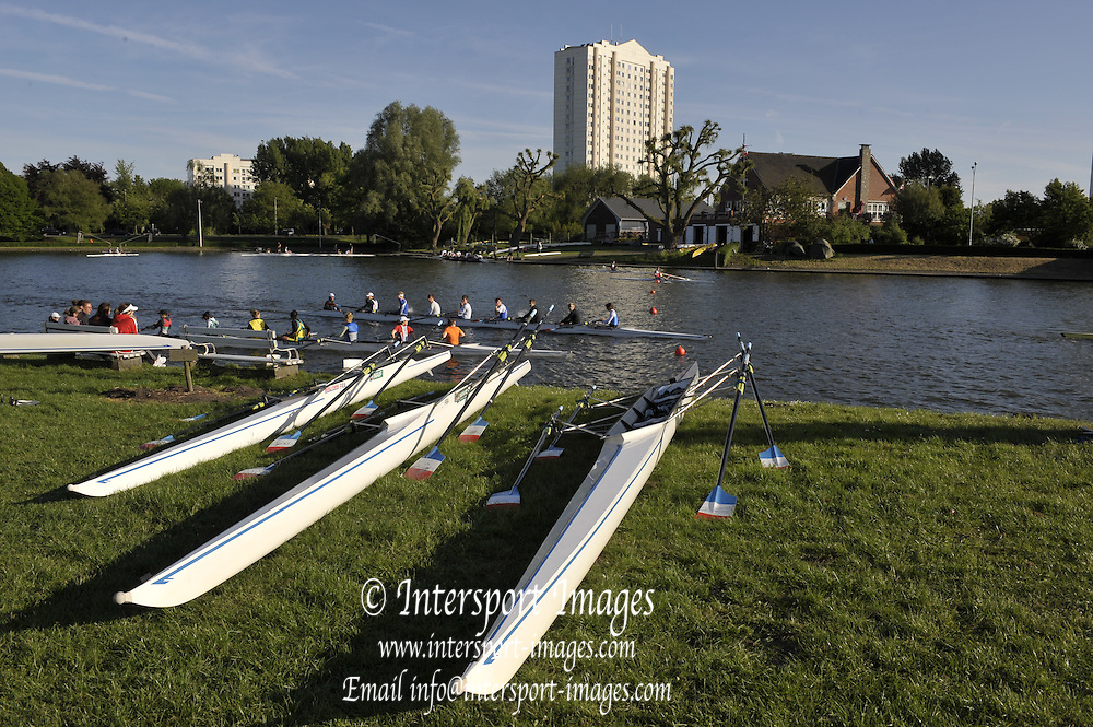 Gent, BELGIUM,  General views from Koninklijke Roeiveniging, Sport Club, Gent,  Boathouse and Boating area,  Boat racks in the grounds of the International Belgian Rowing Championships, Friday 08/05/2009, [Mandatory Credit. Peter Spurrier/Intersport Images]