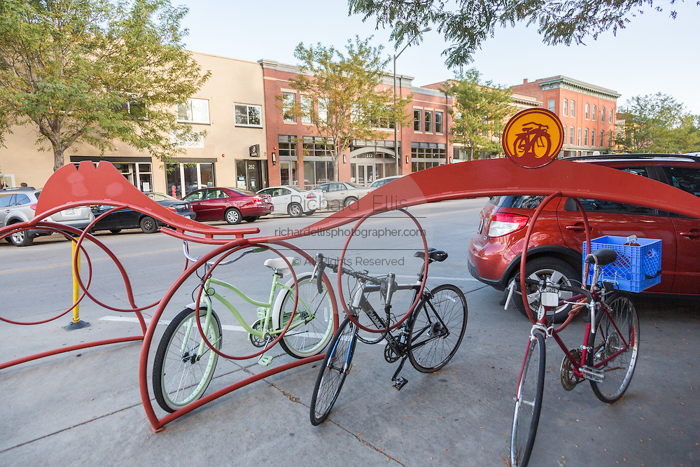 Bicycles parked along Linden Street in the Old Town historic shopping and restaurant district in Fort Collins, Colorado.