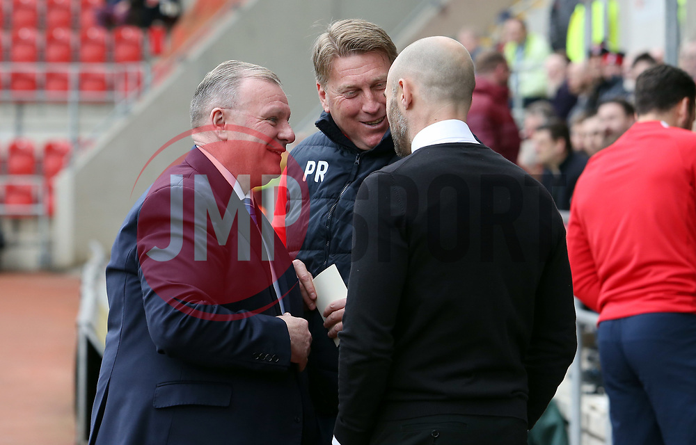 Peterborough United Manager Steve Evans and Assistant Manager Paul Raynor share a joke with Rotherham United manager Paul Warne before kick-off - Mandatory by-line: Joe Dent/JMP - 30/03/2018 - FOOTBALL - Aesseal New York Stadium - Rotherham, England - Rotherham United v Peterborough United - Sky Bet League One