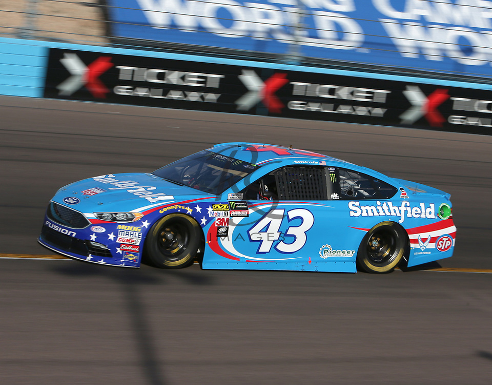 Aric Almirola qualifies for Sunday's NASCAR Cup Series auto race on Friday, March 17, 2017, in Avondale, Ariz.  (AP Photo/Rick Scuteri)
