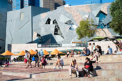 View of  Federation Square in central Melbourne Australia