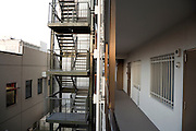 emergency stairs at a residential high rise apartment building in Yokohama Japan
