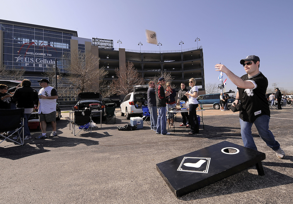 CHICAGO - APRIL 5:  White Sox fans tailgate in the parking lot at U.S. Cellular Field prior to the Opening Day game between the Chicago White Sox and Cleveland Indians on April 5, 2010 at U.S. Cellular Field in Chicago, Illinois.  The White Sox defeated the Indians 6-0.  (Photo by Ron Vesely)