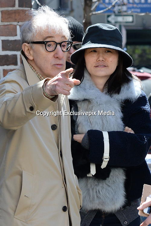 Apr 06, 2016 - New York, NY, USA - Woody Allen seen filming on location of the Woody Allen Amazon Series. With Soon-Yi Previn and Elaine May. <br /> (Credit Image: © Exclusivepix Media)