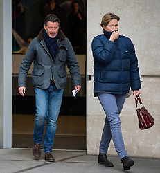 © Licensed to London News Pictures. 17/01/2016. London, UK. President of the IAAF Lord SEBASTIAN COE leaves Broadcasting House in London with his wife CAROLE ANNETT (right). Photo credit: Ben Cawthra/LNP