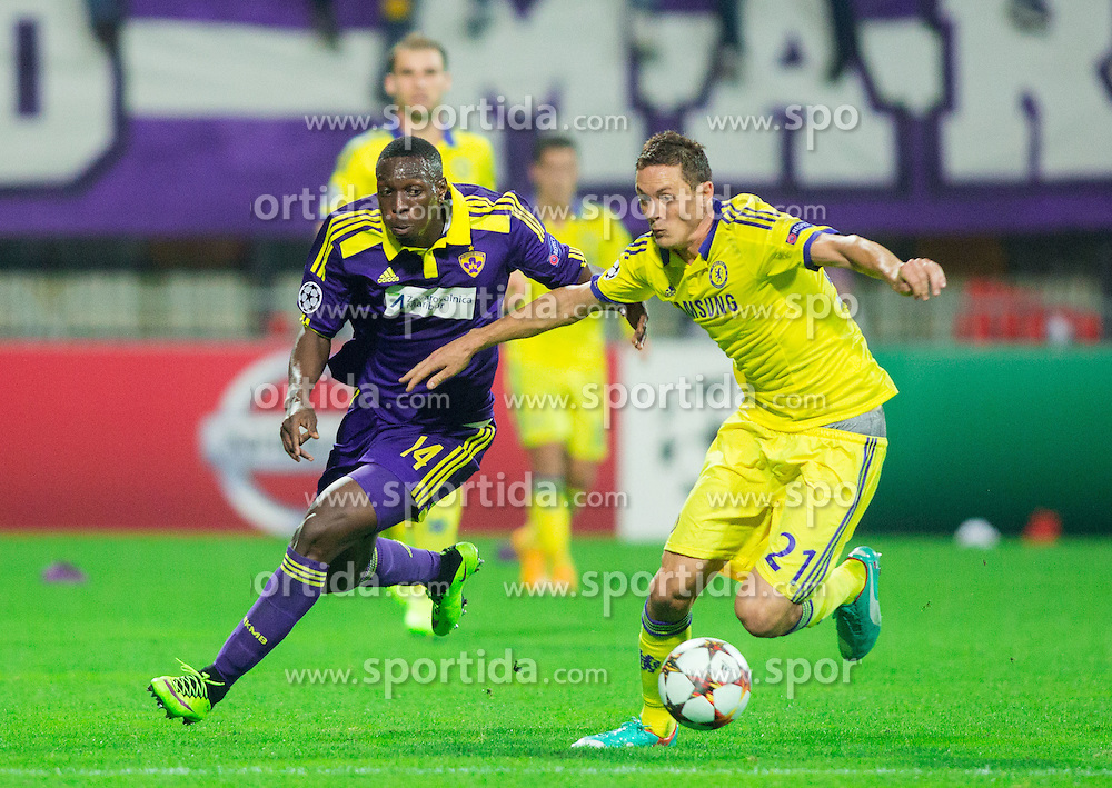 Jean Philippe Mendy of Maribor vs Nemanja Matić of Chelsea during football match between NK Maribor, SLO  and Chelsea FC, ENG in Group G of Group Stage of UEFA Champions League 2014/15, on November 5, 2014 in Stadium Ljudski vrt, Maribor, Slovenia. Photo by Vid Ponikvar / Sportida