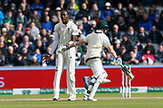Jofra Archer of England looks frustrated after a catching chance from Steve Smith of Australia falls shorts of Sam Curran of England during the International Test Match 2019, fourth test, day two match between England and Australia at Old Trafford, Manchester, England on 5 September 2019.