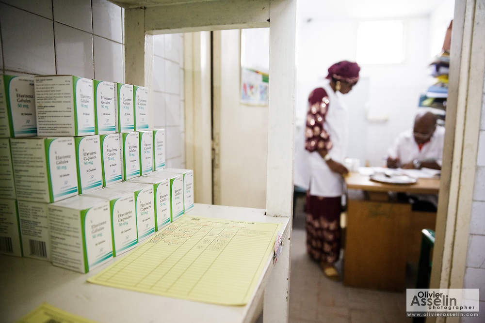 ARV drugs on a shelf at the Koumassi general hospital in Abidjan Cote d'Ivoire on Friday July 19, 2013.