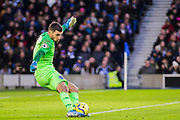 Mathew Ryan (GK) (Brighton) kicks the ball back into play during the Premier League match between Brighton and Hove Albion and Aston Villa at the American Express Community Stadium, Brighton and Hove, England on 18 January 2020.