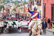 A historic actor plays the part of Mexican Independence hero Ignacio Allende as he rides into the city to mark his 251st birthday January 21, 2020 in San Miguel de Allende, Guanajuato, Mexico. Allende, from a wealthy family in San Miguel played a major role in the independency war against Spain in 1810 and later honored by his home city by adding his name.
