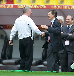 MOSCOW, RUSSIA - Tuesday, May 20, 2008: Manchester United's manager Alex Ferguson meets UEFA technical director Andy Roxburgh during training ahead of the UEFA Champions League Final against Chelsea at the Luzhniki Stadium. (Photo by David Rawcliffe/Propaganda)