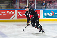 KELOWNA, BC - JANUARY 16: Matthew Sanders #5 of the Moose Jaw Warriors warms up against the Kelowna Rockets  at Prospera Place on January 16, 2019 in Kelowna, Canada. (Photo by Marissa Baecker/Getty Images)