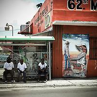 Urban bus stop in Little Haite, Miami