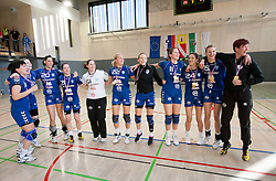 Players of Krim celebrate after the last game of 1st A Slovenian Women Handball League season 2011/12 between ZRK Krka and RK Krim Mercator, on May 8, 2012 in Stopice at Novo mesto, Slovenia. RK Krim Mercator became Slovenian National Champion, GEN-I Zagorje placed second and ZRK Krka placed third. (Photo by Vid Ponikvar / Sportida.com)
