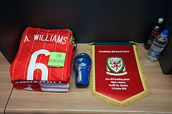 CARDIFF, WALES - Tuesday, October 13, 2015: The Wales shirt of captain Ashley Williams laid out in the dressing room before the UEFA Euro 2016 qualifying Group B match against Andorra at the Cardiff City Stadium. (Pic by David Rawcliffe/Propaganda)