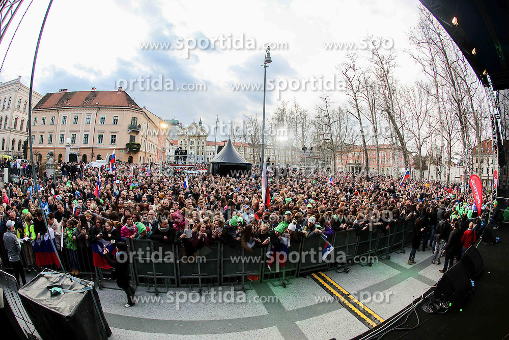 Supporters during reception of Slovenian Winter athletes after the end of season 2015/16, on March 22, 2016 in Kongresni trg, Ljubljana, Slovenia. Photo by Matic Klansek Velej / Sportida