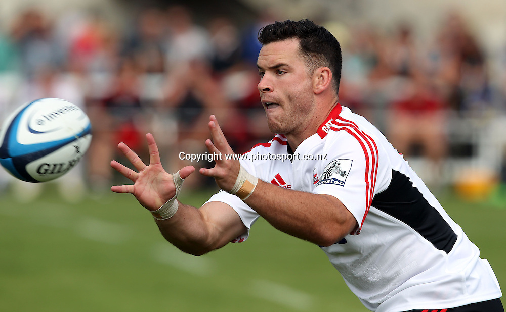 Ryan Crotty in action for the Crusaders.<br /> Super Rugby Pre-season, Highlanders v Crusaders, 8 February 2013, Whitestone Contracting Stadium, Oamaru, New Zealand.<br /> Photo: Rob Jefferies / photosport.co.nz