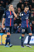 Layvin Kurzawa (psg), Zlatan Ibrahimovic (psg) during the French Championship Ligue 1 football match between Paris Saint Germain and ES Troyes AC on November 28, 2015 at Parc des Princes stadium in Paris, France. Photo Stephane Allaman / DPPI