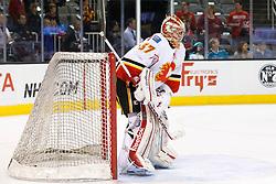Feb 8, 2012; San Jose, CA, USA; Calgary Flames goalie Leland Irving (37) warms up before the game against the San Jose Sharks at HP Pavilion. Calgary defeated San Jose 4-3. Mandatory Credit: Jason O. Watson-US PRESSWIRE