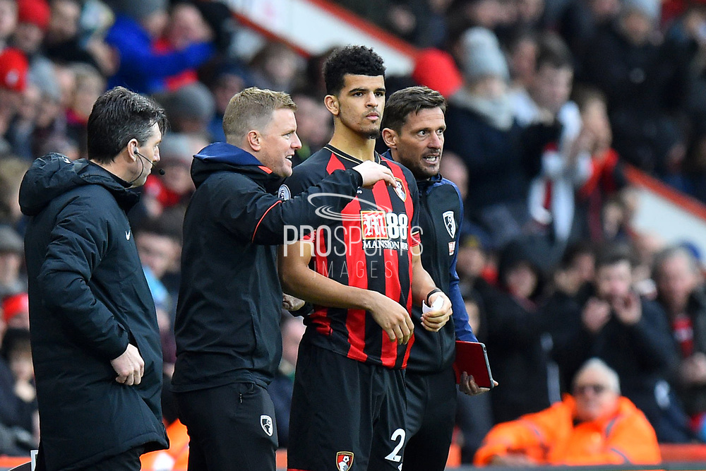 AFC Bournemouth manager Eddie Howe brings on Dominic Solanke (29) of AFC Bournemouth as a substitute during the Premier League match between Bournemouth and Newcastle United at the Vitality Stadium, Bournemouth, England on 16 March 2019.