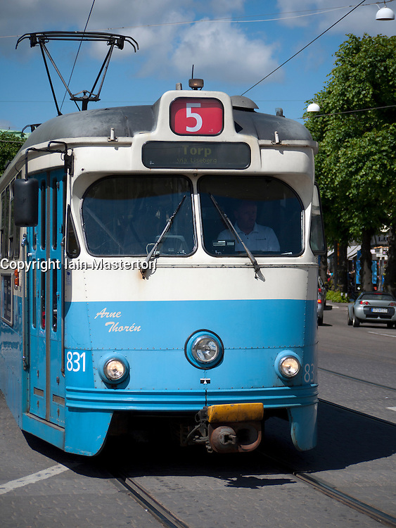 View of tram on streets of Gothenburg in Sweden Scandinavia