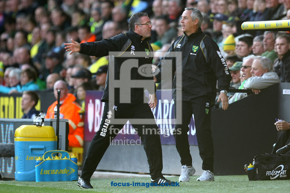 Picture by Paul Chesterton/Focus Images Ltd.  07904 640267.19/11/11.Norwich Manager Paul Lambert and Ian Culverhouse are angered by Referee Phil Dowd's decisions during the Barclays Premier League match at Carrow Road stadium, Norwich.