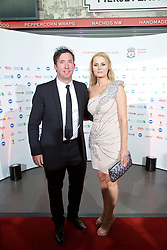 LIVERPOOL, ENGLAND - Tuesday, May 19, 2015: Former Liverpool player Robbie Fowler and wife Kerrie arrive on the red carpet for the Liverpool FC Players' Awards Dinner 2015 at the Liverpool Arena. (Pic by David Rawcliffe/Propaganda)