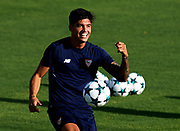 SEVILLE, SPAIN - AUGUST 21:  Joaquin Correa of Sevilla FC in action during the training session prior to their UEFA Champions League match against Istambul Basaksheir at the Sevilla FC training ground on August 21, 2017 in Seville, Spain.  (Photo by Aitor Alcalde Colomer/Getty Images)