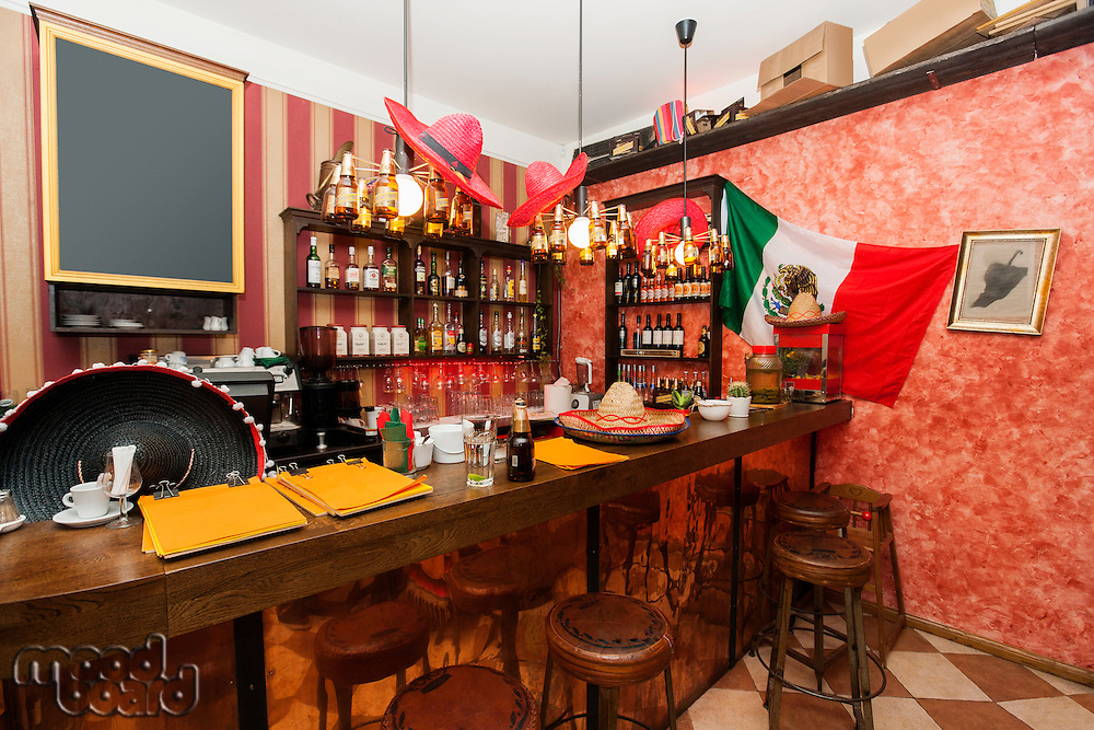Empty counter in Mexican bar