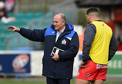 Bristol Rugby Director of Rugby Andy Robinson speaks with Bristol Rugby replacement Ellis Genge before the game  - Mandatory byline: Joe Meredith/JMP - 07966386802 - 24/10/2015 - RUGBY - The Mennaye Field -Penzance,England - Cornish Pirates v Bristol Rugby - Greene King IPA Championship
